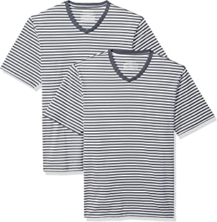 Amazon Essentials Men's Loose-fit Short-Sleeve Stripe V-Neck T-Shirts