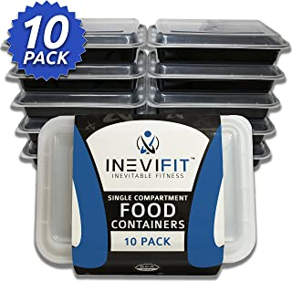 INEVIFIT Meal Prep Single Compartment BPA FREE, Premium Food Storage Containers, Durable & Reusable, 28 oz. Stackable 10 Pack Meal-Prep, Microwaveable & Dishwasher Safe Leak Resistant Bento Lunch Box