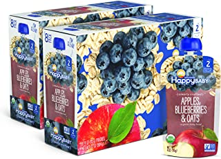 Sponsored Ad - Happy Baby Organic Clearly Crafted Stage 2 Baby Food Apples, Blueberries & Oats, 4 Ounce (16 Count)