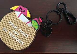VICTORIA SECRET - SOLD OUT - PINK - CHARM - HANGING KEYCHAIN MIRROR, BEACH BAG CLIP, PALM TREES AND 80 DEGREES