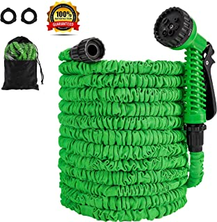 "ECONOM Expandable 50 ft Garden Water Hose - Hose Pipe with Premium Quality Double Latex & Lightweight 3/4"" Solid Fittings with 7 Function High Pressure Spray Nozzle.Maneuverable Hose."