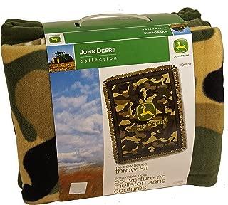 John Deere Green Camo No-Sew Fleece Throw Kit