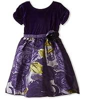 Us Angels - Velvet/Brocade Cap Sleeve w/ Flower & Full Skirt (Little Kids)