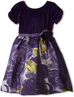 Velvet/Brocade Cap Sleeve w/ Flower & Full Skirt (Little Kids)