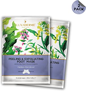 LuxaDerme Peeling and Exfoliating Foot Mask with Sea Kelp, Thyme and Brassica Campestris, 40ml - Pack of 2