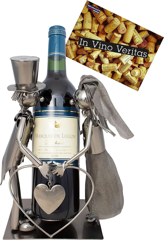 BRUBAKER Porta botella de vino pareja de novias - Decoraciónn soporte de botella de metal - con tarjeta de felicitación para regalo de boda