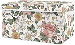 Sweet Jojo Designs Vintage Floral Boho Girl Small Fabric Toy Bin Storage Box Chest for Baby Nursery or Kids Room - Blush P...
