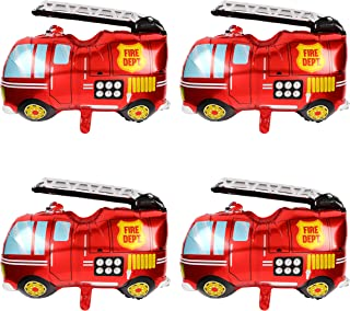 Big Red Fire Truck Foil Mylar Balloon Helium Birthday Party Decorations Supplies 4 Pcs Jumbo Fire Engine