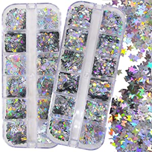 2 Boxes Holographic Silver Nail Glitters Sequins Butterfly Hearts Star Shape Chunky Glitter Flakes Nail Art Decor for Nail Tips, Paints, Crafts, Resin, Makeup(Mixed Holographic)