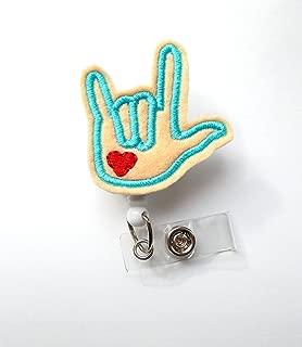 Sign Language Badge (Lt Flesh) Blue - SLP Badge Holder - ASL Badge - I Love You Badge Reel - Audiologist Badge Holder - Speech Language Pathologist Badge - ASL Gift