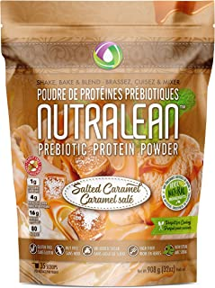 NUTRALEAN Salted Caramel Prebiotic Protein Powder- 100% All Natural | Peanut-Free | Nut-Free | Gluten-Free | Soy-Free | NO Artificial Sweeteners | Grass Fed Whey | Ideal Keto Shakes & Fiber Supplement