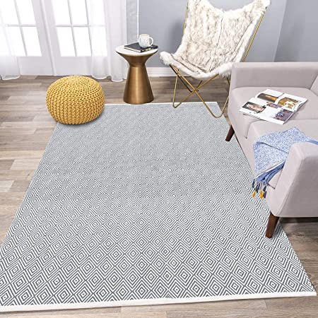 HiiARug Woven Cotton Christmas Rug 2x44 Tufted Area Rug with Tassels Washable Throw Rug Red Floor Mat for Kitchen Bedroom Laundry Living Room Bathroom 2x44, Cream Tassel