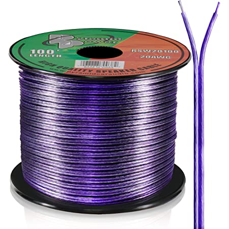 100ft 20 Gauge Speaker Wire - Copper Cable in Spool for Connecting Audio Stereo to Amplifier, Surround Sound System, TV Home Theater and Car Stereo - Pyramid RSW20100
