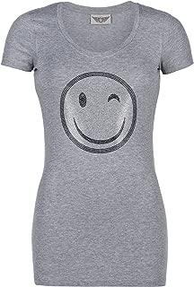 Damen T Shirt Strass Glitzer Perlen Nieten Größe S M L XL 34 36 38 40 42 schwarz