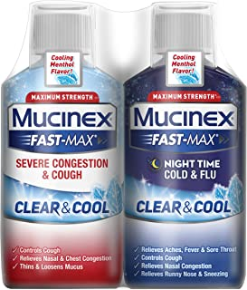 Mucinex Fast-Max Severe Congestion & Couch Clear & Cool Liquid and Mucinex Fast Max Night Time Cold & Flu Liquid, Maximum Strength Combo Pack 12 fl. oz. (2x6 fl. oz.) Cooling Menthol Flavor