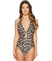 Kate Spade New York - Crystal Cove #70 Scalloped Halter Plunge One-Piece w/ Removable Soft Cups