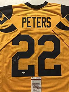 Autographed/Signed Marcus Peters Los Angeles LA Yellow Football Jersey JSA COA