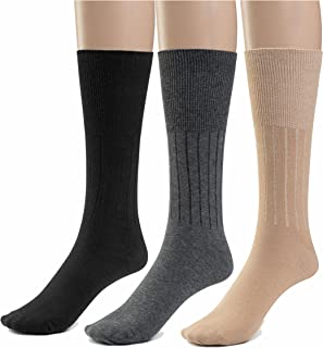Silky Toes 3 or 6 Pk Men's Diabetic Non-Binding Cotton Dress Socks, Multi Colors Also Available in Plus Sizes…