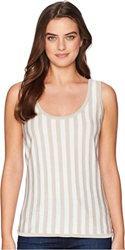 Striped Scoop Neck Tank Top - Striped Knit