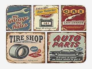 Lunarable 1950s Bath Mat, Vintage Car Signs Automobile Advertising Repair Vehicle Garage Classics Servicing, Plush Bathroom Decor Mat with Non Slip Backing, 29.5