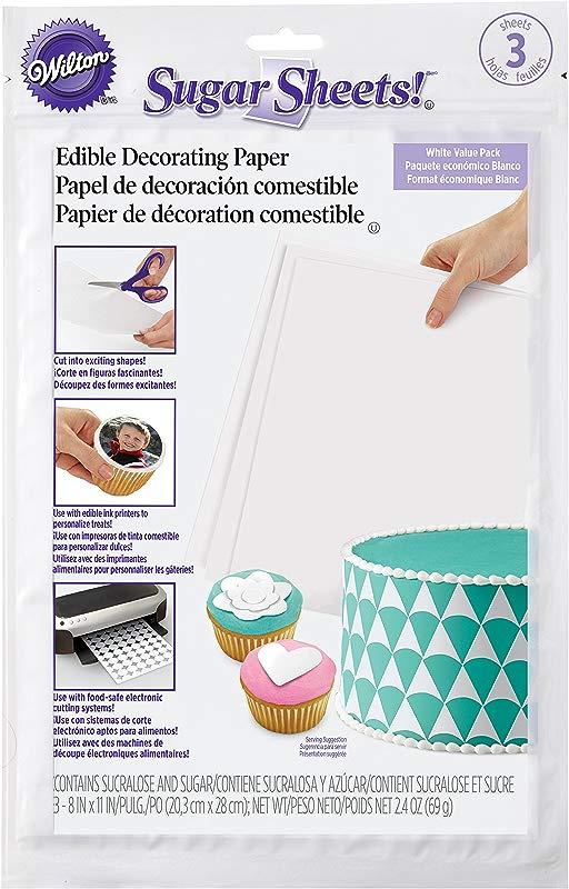 Wilton White Sugar Sheets Edible Decorating Paper 3 Count