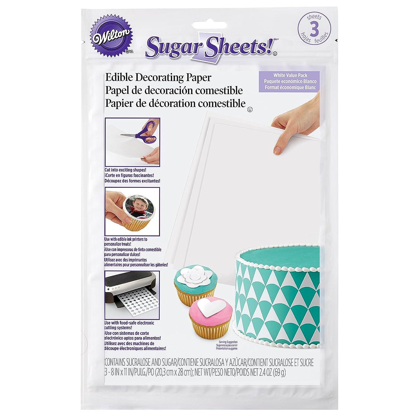Wilton White Sugar Sheets Edible Decorating Paper, 3-Count