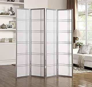 Roundhill Furniture RD042SL Seto 4-Panel Room Divider Screen, Silver