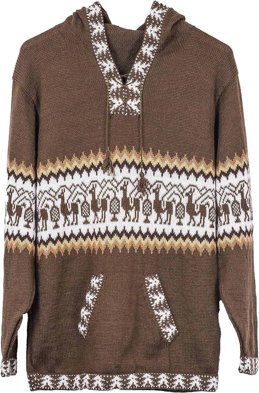 Gamboa - Alpaca - Llamas Sweater - Hoodie for Men - Andean Design in Brown