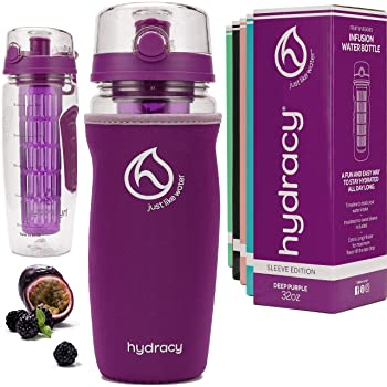 Hydracy Fruit Infuser Water Bottle - 32 oz Sports Bottle - Insulating Sleeve, Time Marker & Full Length Infusion Rod + 27 Fruit Infused Water Recipes eBook Gift - Your Healthy Hydration Made Easy