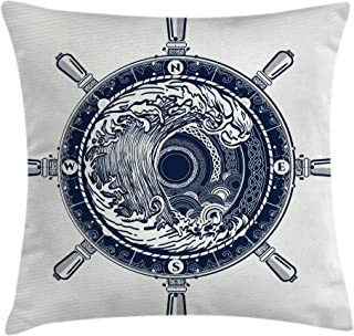 Ambesonne Adventure Throw Pillow Cushion Cover, Sea Compass and Storm Tattoo Design in Celtic Style Tsunami Waves and Wheel, Decorative Square Accent Pillow Case, 24