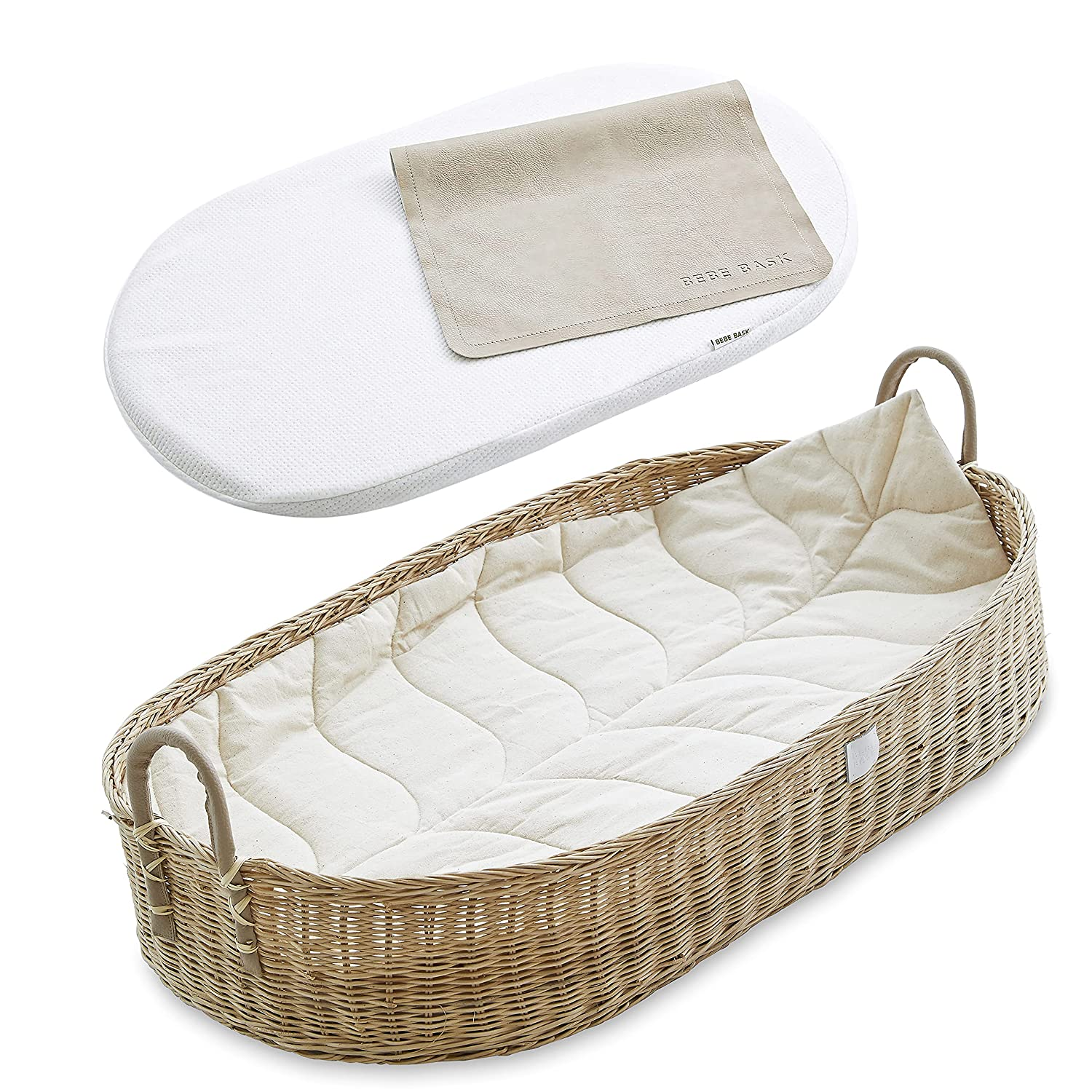 Bebe Bask Premium Baby Changing Basket Rattan Spring new work one after another Moses Organic Sacramento Mall Ba -