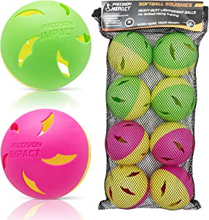 Precision Impact Softball Squishies: Heavy-Duty Lightweight Balls for Softball Hitting Training (8-Pack)