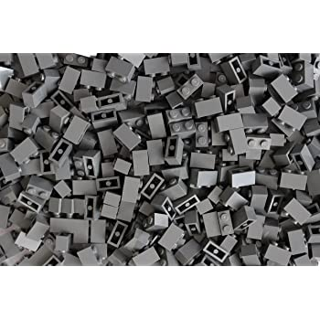 100 x  Lego 1x2 Black brick with Grooves 3004