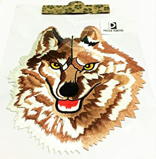Patch Portal 9 Inches Large Lone Wolf Head Back Patches Brown White Silk Embroidered Iron on Trendy Embroidery Designs Bad...