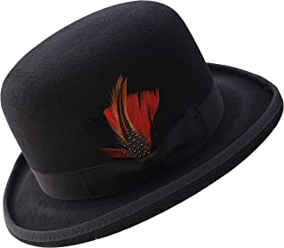 298ac7e8 Different Touch Men's 100% Wool Felt Derby Bowler with Removable Feather  Fedora Hats