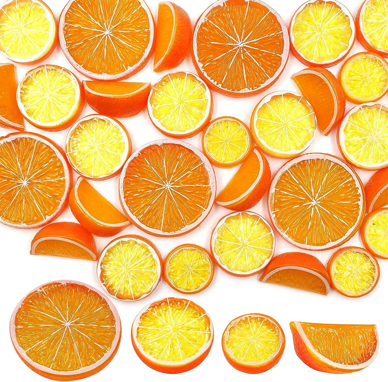 SNAIL GARDEN 30Pcs Artificial Lemon Slices Blocks, 20Pcs Simulation Lime Slice+10Pcs Fake Lemon Block-Double Side Decorative Fake Fruit Model for Party Photo Props Decoration Kid Toys(Orange