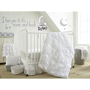 Levtex Baby - Willow Crib Bed Set - Baby Nursery Set - White - Soft Rosette Pintuck - 5 Piece Set Includes Quilt, Fitted Sheet, Diaper Stacker, Wall Decal & Crib Skirt/Dust Ruffle