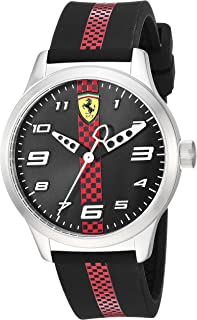 Ferrari Pitlane, Quartz Stainless Steel and Silicone Strap Casual Watch, Black, Boy, 860002
