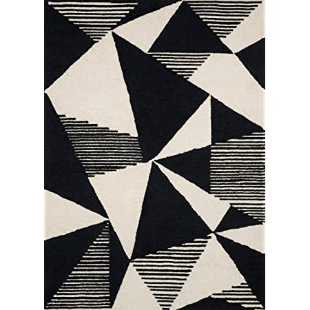 Now House by Jonathan Adler Fractal Collection Area Rug, 5' x 7', Ivory and Black