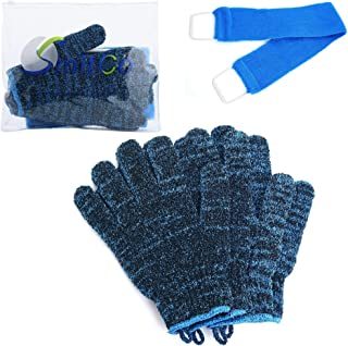 SMITCO Exfoliating Kit - 4 Thicker, Rougher and Bigger Exfoliating Gloves and Extra Long Back Washer for Full Body Scrub - Dead Skin, Bacne and Keratosis Remover - Exfoliator Shower Scrubbers