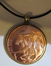 Red Horse of War Copper Round 24 inches Leather Chord Necklace