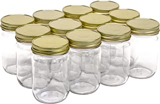 North Mountain Supply 12 Ounce Glass Regular Mouth Mason Canning Jars - with Gold Safety Button Lids - Case of 12
