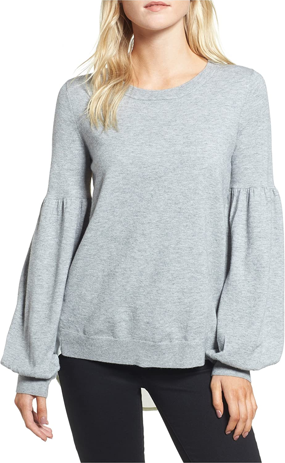Chelsea28 Woven Back Sweater Grey Heather  Large
