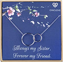 CHICLOVE Sterling Silver Two Interlocking Infinity Double Circles Pendant Necklace for Sister