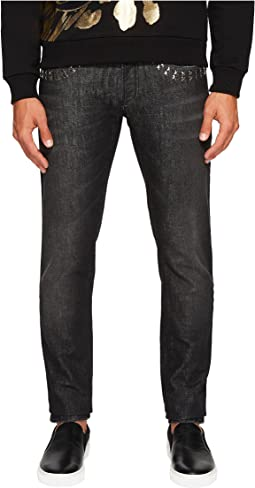 X Applique Jeans in Washed Black