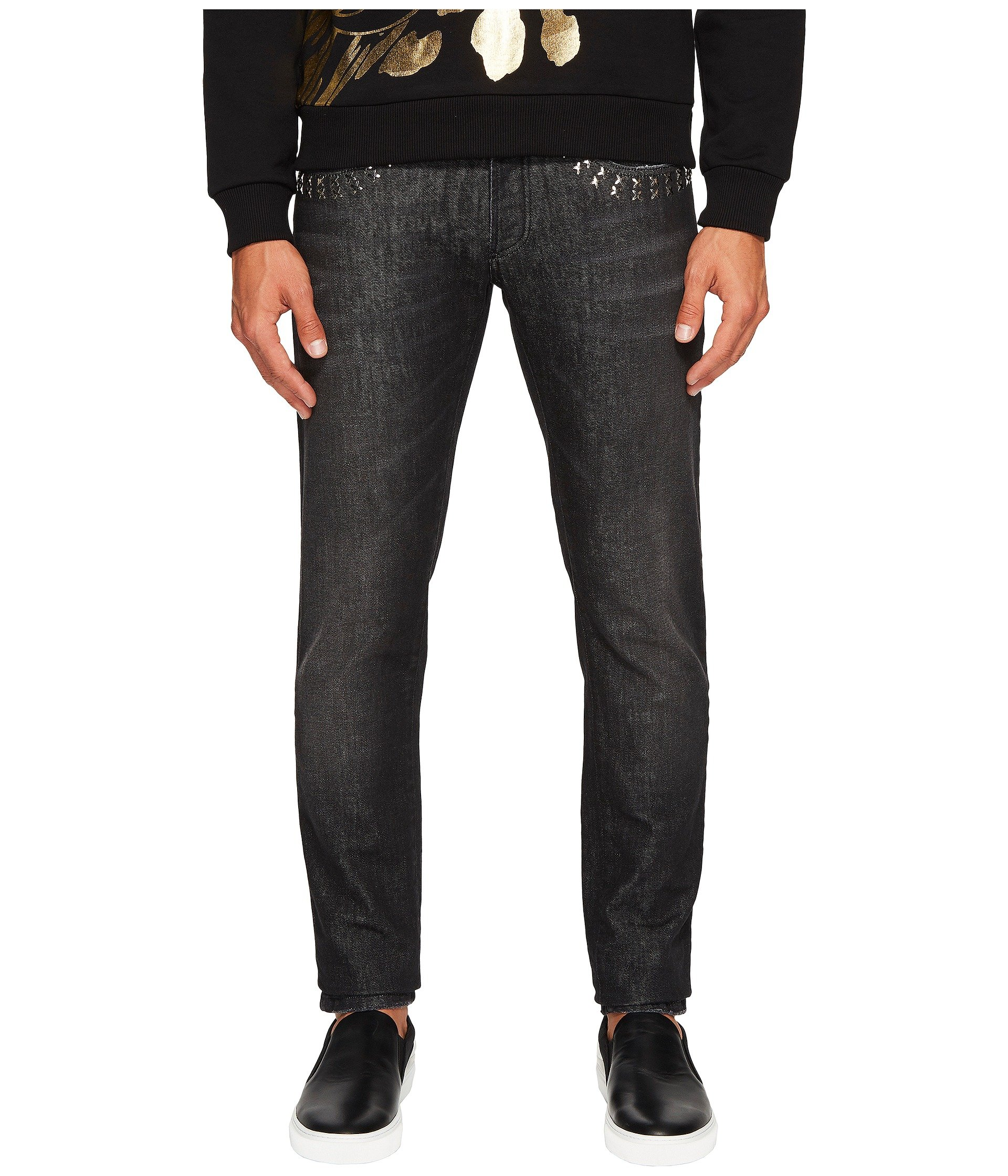 Versace X Applique Jeans in Washed Black, WASHED BLACK