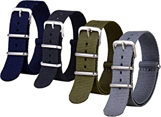 Wolfteeth 4 in 1 Set Watch Bands - Four Color - Four Choice of Width (16mm, 18mm, 20mm or 22mm) - Nylon Watch Band Strap