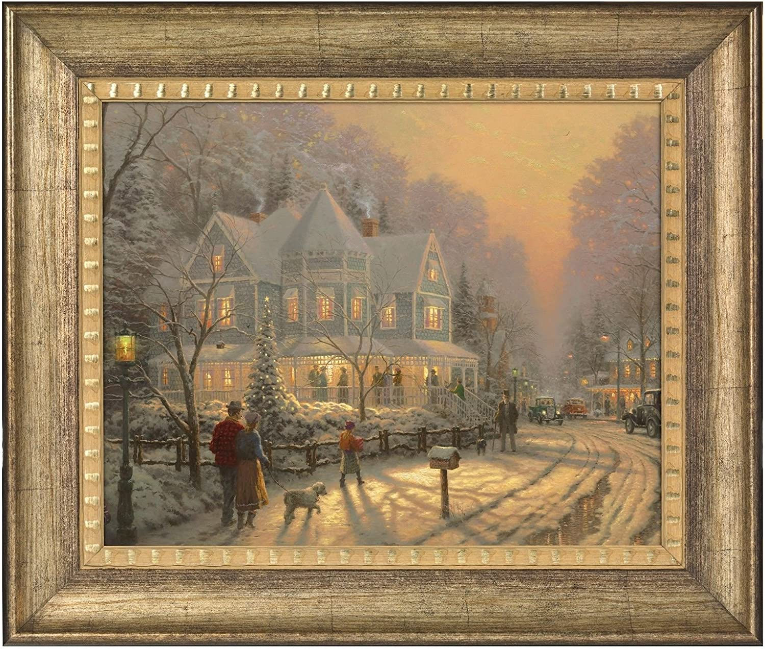 Thomas Kinkade A Holiday Gathering 16 X 20 Brushstroke Vignette Burnished Gold Posters Prints Amazon Com