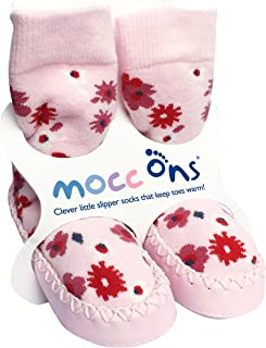 Sock Ons Mocc Ons Moccasin Style Slipper Socks for 18-24 Month Babies, Pink