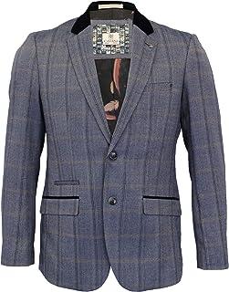 Cavani Mens Tweed 3 Piece Suit Blazer Waistcoat Trousers Checked Peaky Blinders